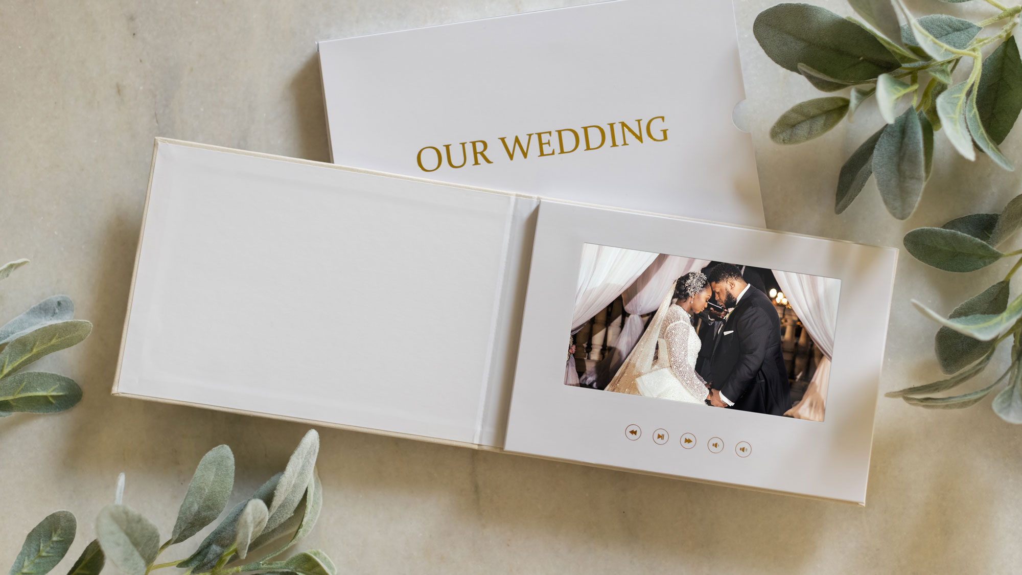 A Wedding Video book on a coffee table - The Motion Books