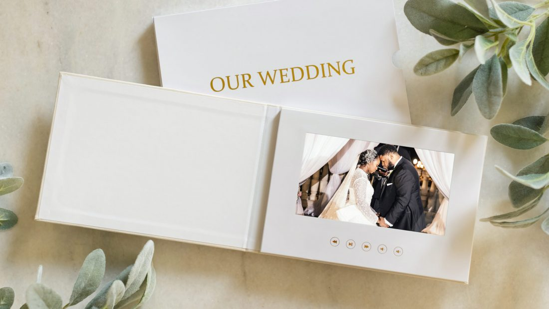 A Wedding Video album on a coffee table - The Motion Books